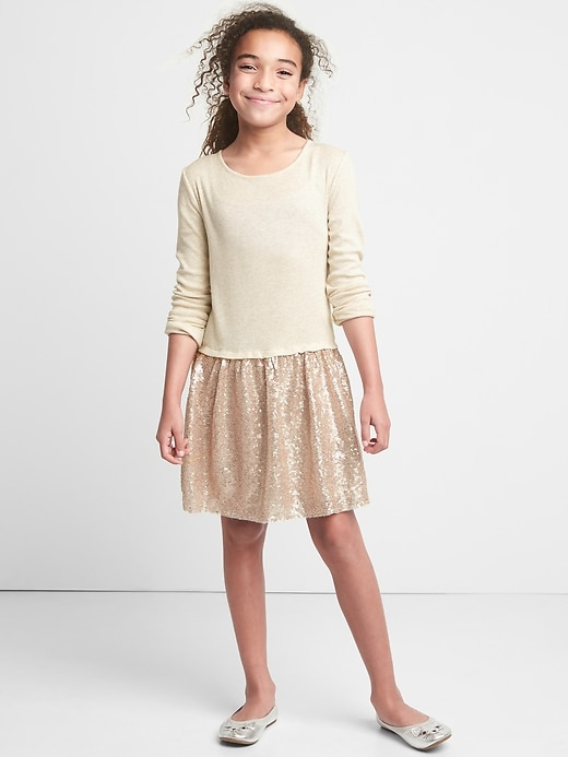 Gap Girls Mix-Fabric Sequin Dress Oatmeal Size XS