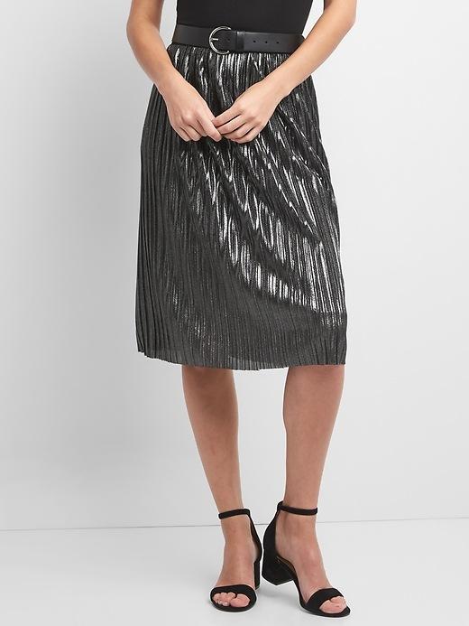 Gap Womens Metallic Pleated Midi Skirt Silver Size XS
