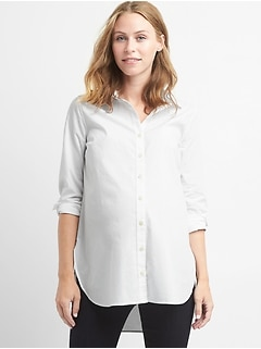 Maternity Tailored Poplin Tunic Shirt