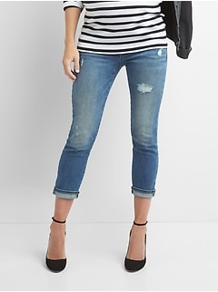 Maternity demi panel distressed best girlfriend jeans