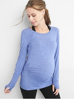 Maternity GapFit Breathe Long Sleeve Crewneck T-Shirt