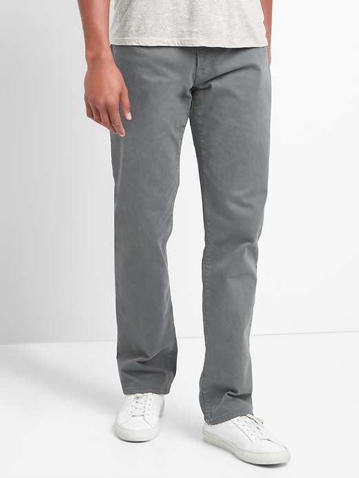 Twill Straight Fit Pants (Stretch)