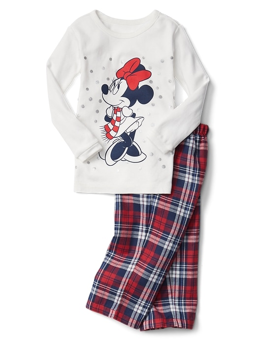 Gap Baby Babygap   Disney Baby Minnie Mouse Plaid Pj Pants New Off White Size 6-12 M