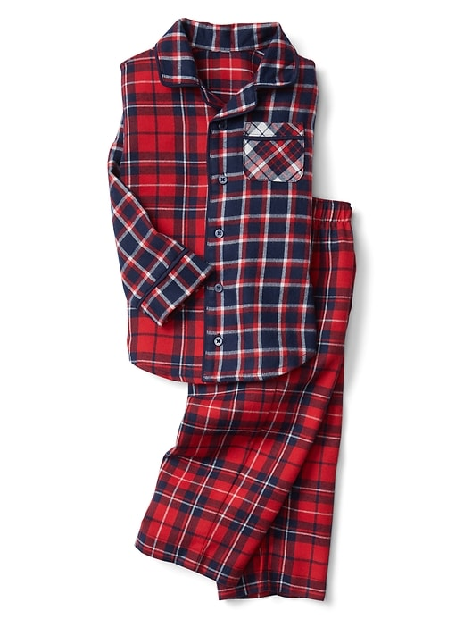 Gap Baby Mix-Plaid Flannel Classic Pj Set Modern Red Size 3 YRS