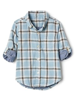 Toddler Plaid Double-Woven Convertible Shirt