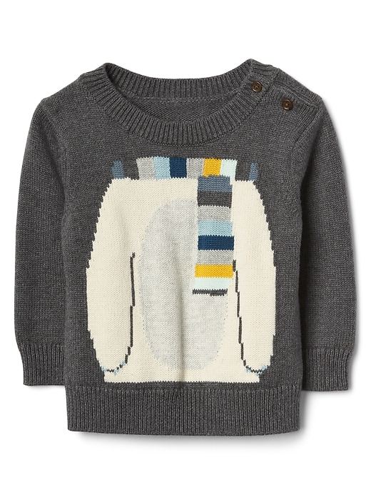 Gap Baby Crazy Stripe Graphic Sweater Light Heather Gray Size 0-3 M