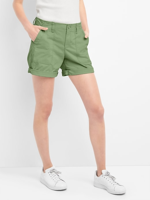 Gap Womens Girlfriend Rolled Utility Shorts Monterey Cypress Size 4 Petite