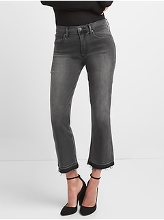 High Rise Crop Kick Jeans with Raw Hem