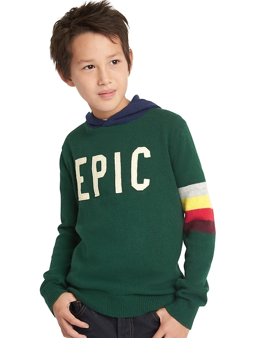 Gap Boys Statement Pullover Sweater Hoodie Evergreen Glamour Size S