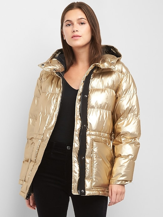 Gap Womens Coldcontrol Max Oversize Metallic Puffer Jacket Gold Size M