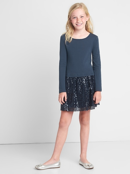 Gap Girls Mix-Fabric Sequin Dress Dark Night Size S