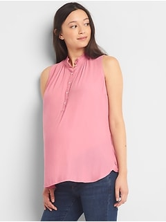 Maternity sleeveless henley top