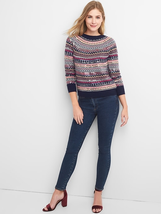 Limited Edition sequin fair isle pullover sweater | Gap