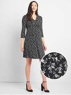 Maternity Print Wrap Dress