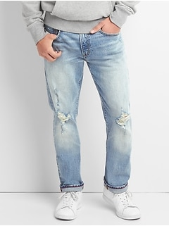 Limited-Edition Cone Denim&#174 Distressed Slim Jeans with GapFlex