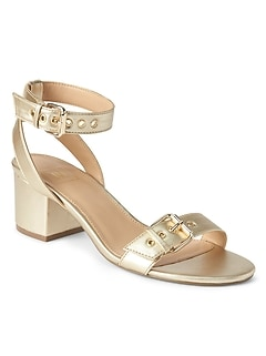 Buckle Block Heel Sandals in Metallic