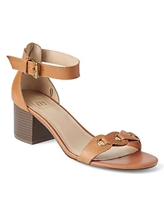 Grommet Block Heel Sandal in Leather