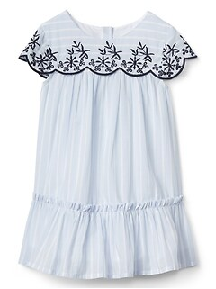 Stripe Embroidery Ruffle Dress