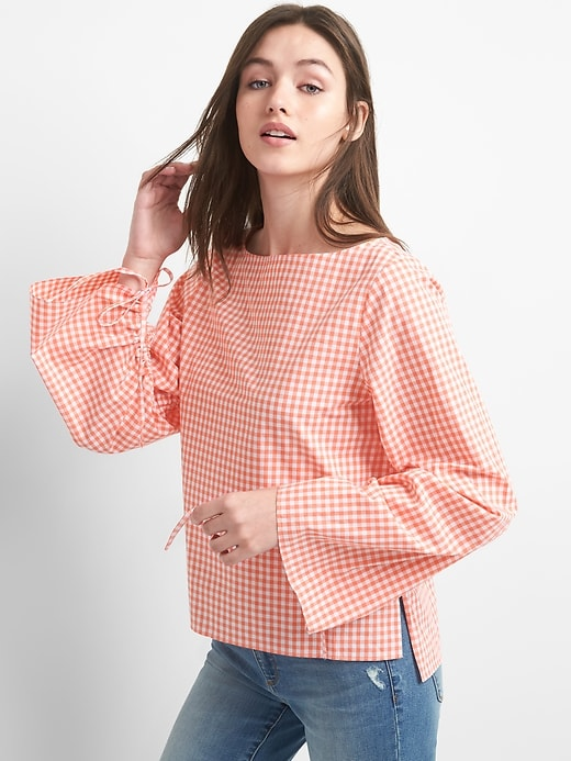 Ruched Sleeve Boatneck Gingham Top In Poplin by Gap