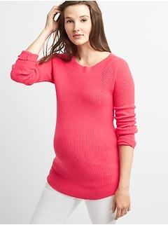 Maternity Ribbed Pullover Boatneck Sweater Tunic