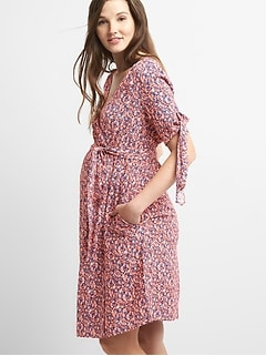 Maternity Tie-Sleeve Wrap Dress in Crepe