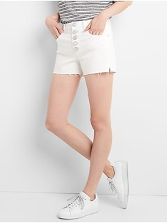 "High Rise 3"" Denim Shorts with Button-Fly"
