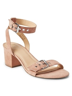 Buckle Block Heel Sandals in Suede