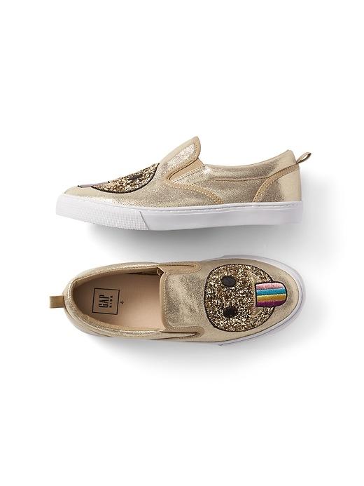 Gap Girls Glitter Emoji Slip-On Sneakers Champagne Size 1
