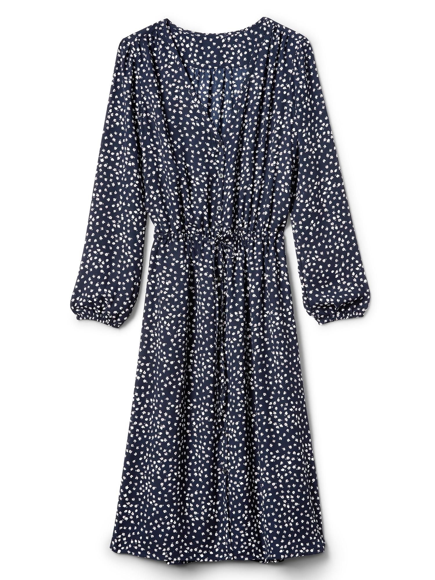 Long Sleeve Fl Midi Dress
