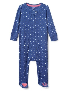 Favorite Dot Heart Footed One-Piece