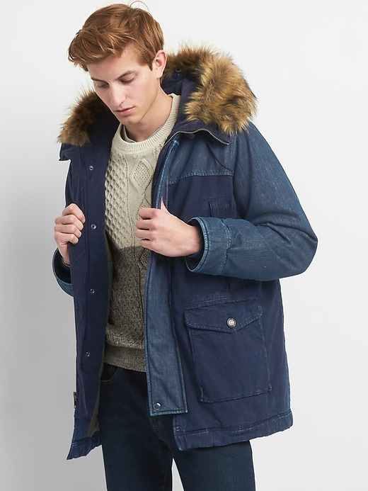 Gap Mens Indigo Colorblock Faux-Fur Parka