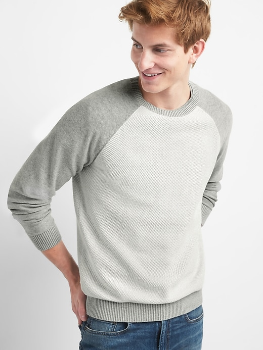 Lightweight Raglan Textured Crewneck Sweater by Gap