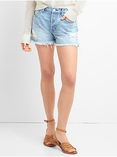 "Washwell High Rise 3"" Denim Shorts with Destruction"