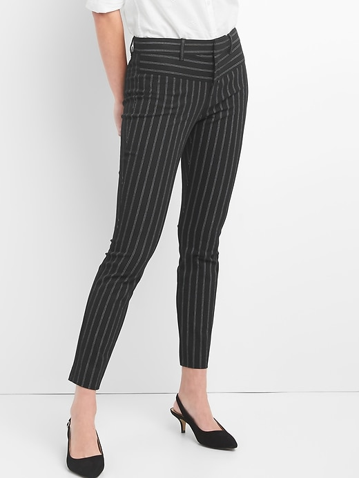 Stripe Skinny Ankle Pants Black Stripe