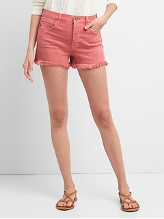 High Rise Denim Shorts in Color