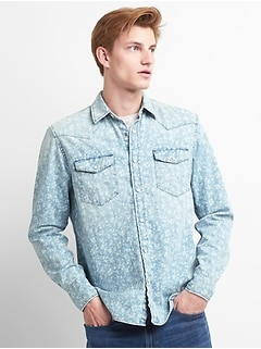 Slim Fit Floral Print Western Shirt in Denim