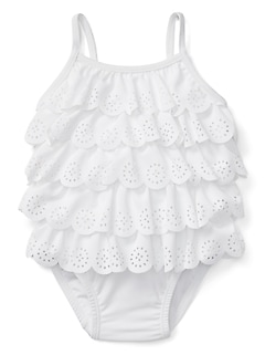Eyelet Ruffle Swim One-Piece