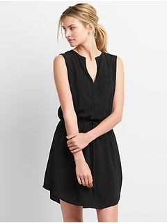 Sleeveless Tie-Waist Bib Front Shirtdress