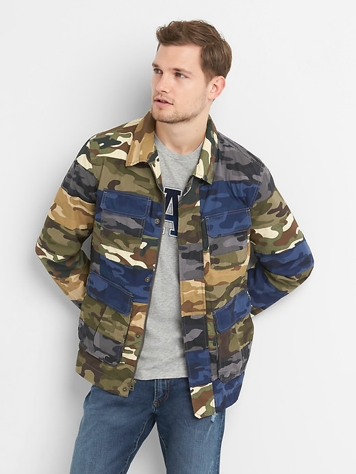 Camo Patchwork Military Jacket In Poplin by Gap
