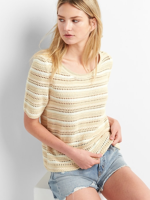 Striped Short Sleeve Crochet Pullover Sweater by Gap