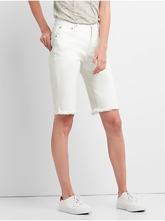 "High Rise 12"" Denim Bermuda Shorts with Frayed Hem"