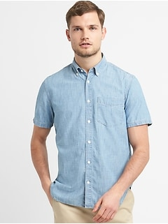 Standard Fit Short Sleeve Shirt in Chambray