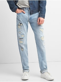 Limited-Edition Distressed Cone Denim® Selvedge Slim Jeans with GapFlex