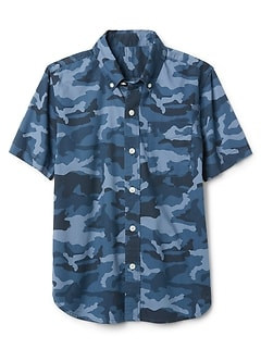 Camo Short Sleeve Shirt in Poplin