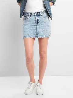 Denim Mini Skirt in Acid Wash