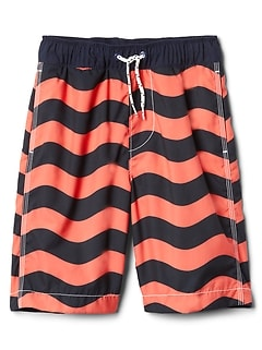 "8"" Wave Stripe Swim Trunks"