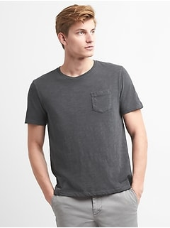 Pocket T-Shirt in Slub Cotton