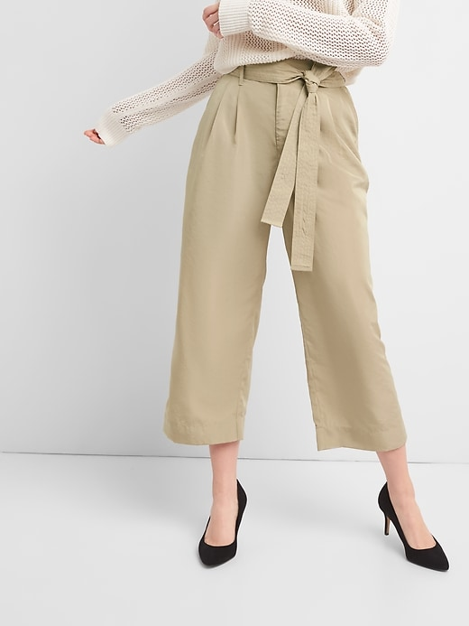 Tie-Waist Crop Wide-Leg Pants