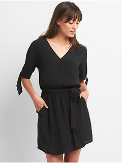Tie-Sleeve Wrap Dress