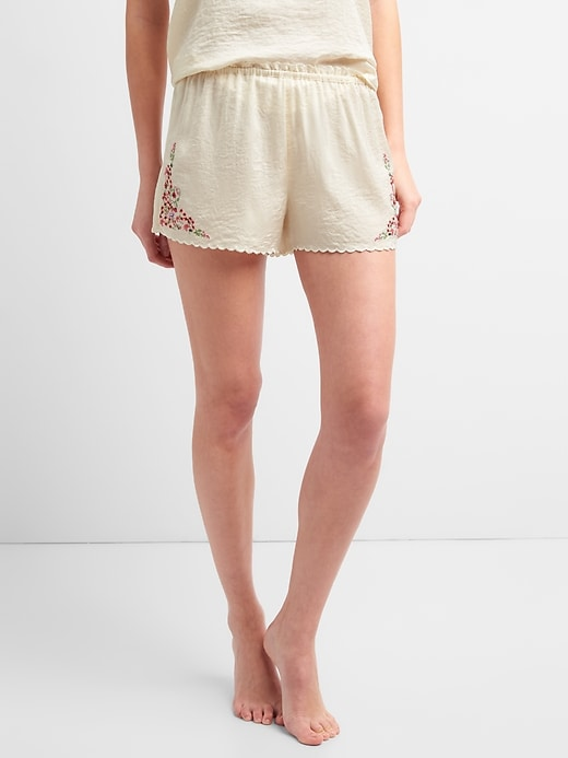 Dreamwell Embroidered Shorts In Satin by Gap